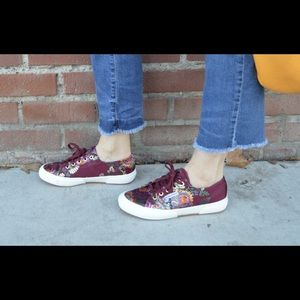 NWT Multi-color Superga Embroidered Satin Sneakers